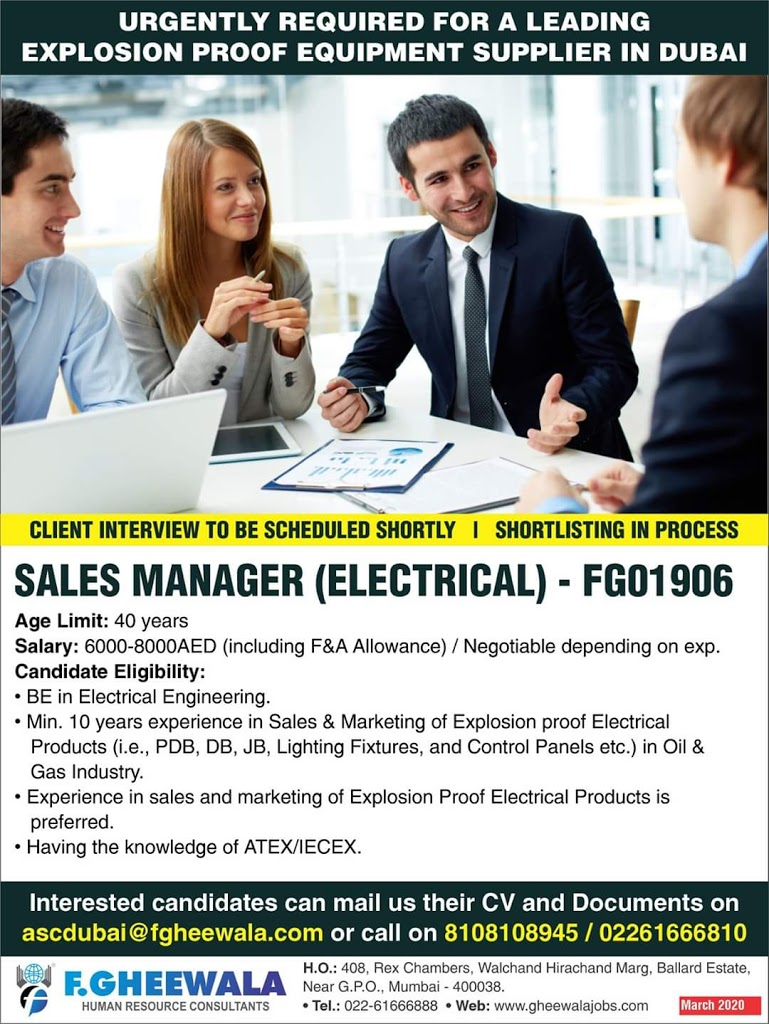 Sales Manager (Electrical ) for Leading supplier in Dubai