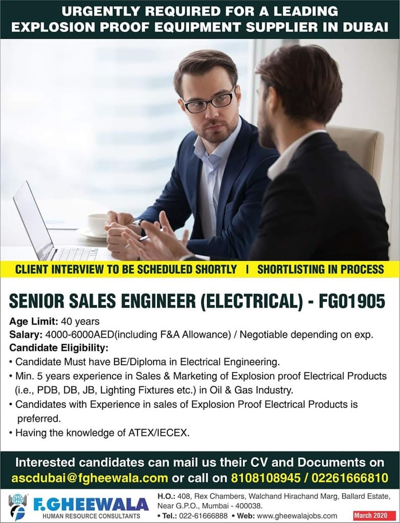 Senior Sales Engineer (Electrical ) for Leading supplier in Dubai