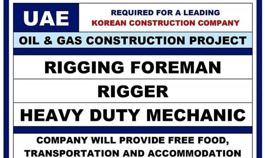 REQUIRED FOR A LEADING UAE KOREAN CONSTRUCTION COMPANY