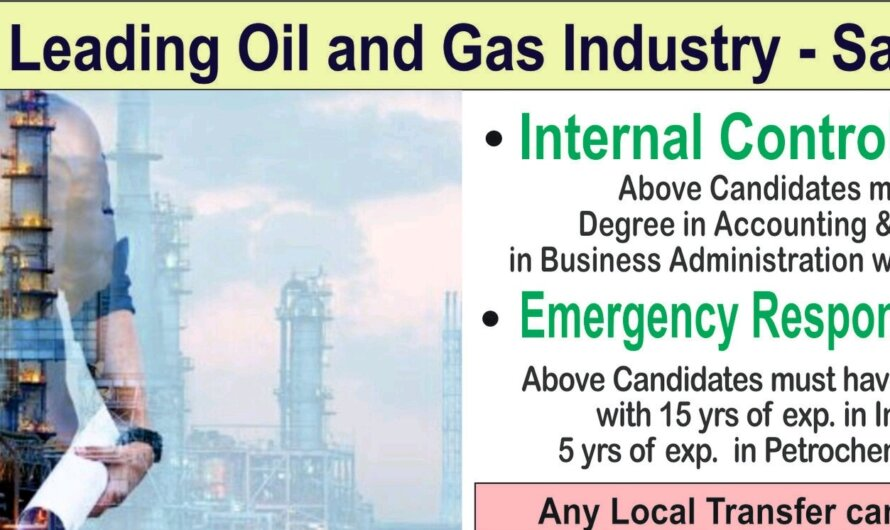 Hiring For Leading Oil and Gas Industry – Saudi Arabia