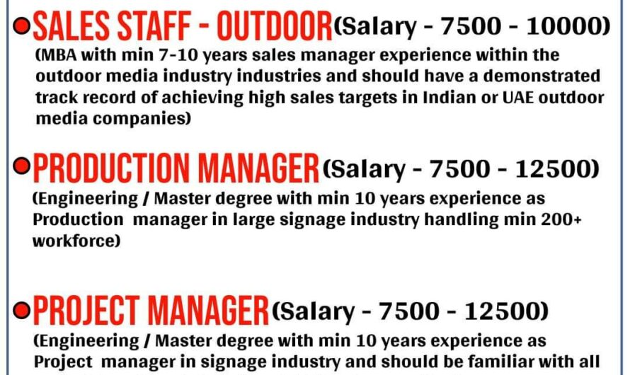 URGENTLY REQUIRED FOR A LEADING COMPANY IN UAE
