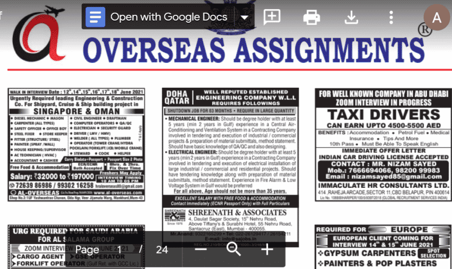 Assignment Abroad Times 12th June 2021