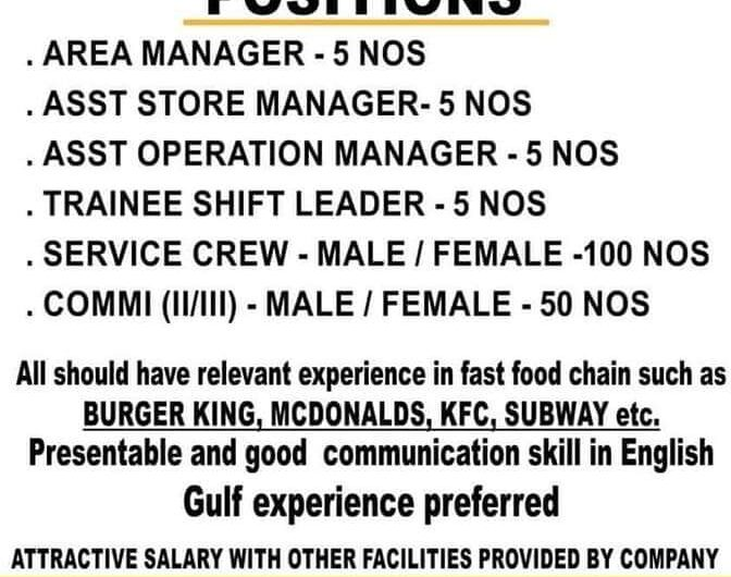 REQUIRED IN MENA KUWAIT