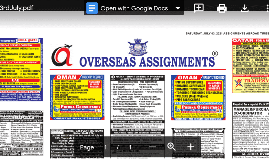 Assignment Abroad Times 03rd July 2021