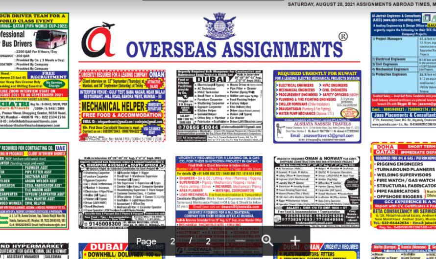 Assignment Abroad Times 28th August 2021