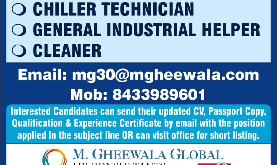 URGENTLY REQUIRED FOR REPUTED COMPANY IN DUBAI